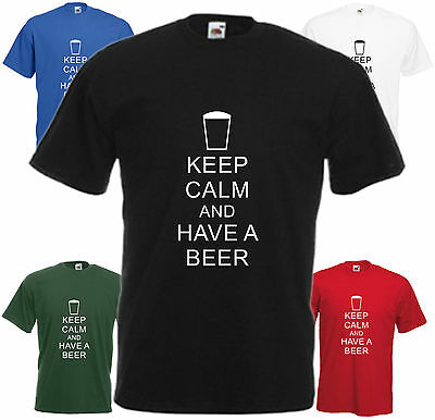 Keep Calm And Have A Beer T Shirt Funny Pint Tee Pub Joke Gift Top Xmas Present ()