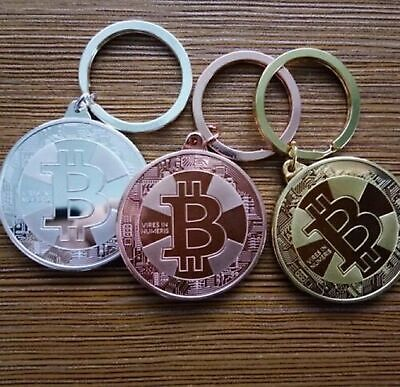 BITCOIN Coin BTC Keychain Cryptocurrency Keyring Key Fob Pendant GOLD SILVER Collectibles
