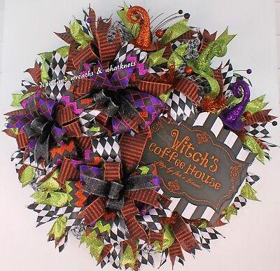 Mesh Wreaths For Halloween (HALLOWEEN WREATH, HALLOWEEN WREATH FOR FRONT DOOR, WITCH WREATH, HALLOWEEN)