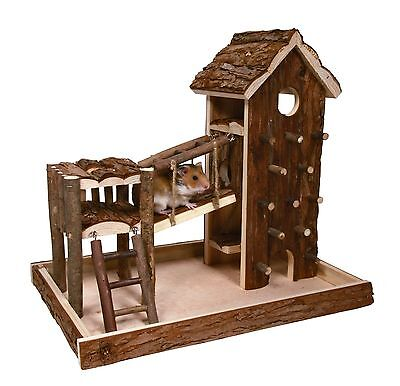 Birger Playground Natural Wood with House Climbing Wall Gerbils Mice Hamsters d'occasion  Expédié en Belgium