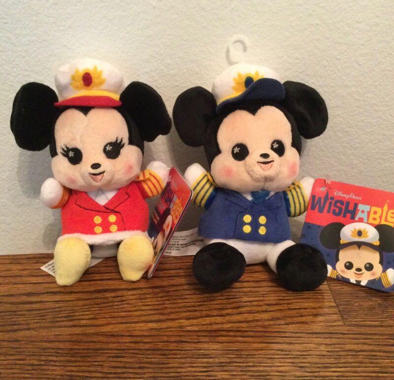 Disney Cruise Line Wishables Captain Mickey & Captain Minnie Plush (Brand New)