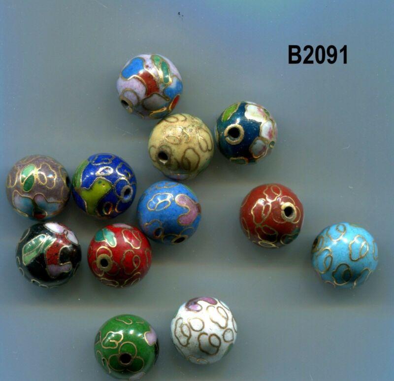 Cloisonne Beads, 10mm, 12 colors,  25 beads, U Choose, AAA Quality  B2088-B2091
