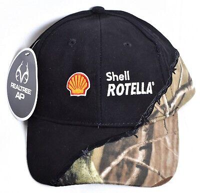 SHELL ROTELLA Oil Logo Black RealTree Camo Hat/Cap Adjustable One Size >NEW<