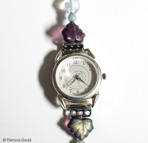 W4 - Beaded watch with sterling silver clasp - bear fetish face - one of a kind