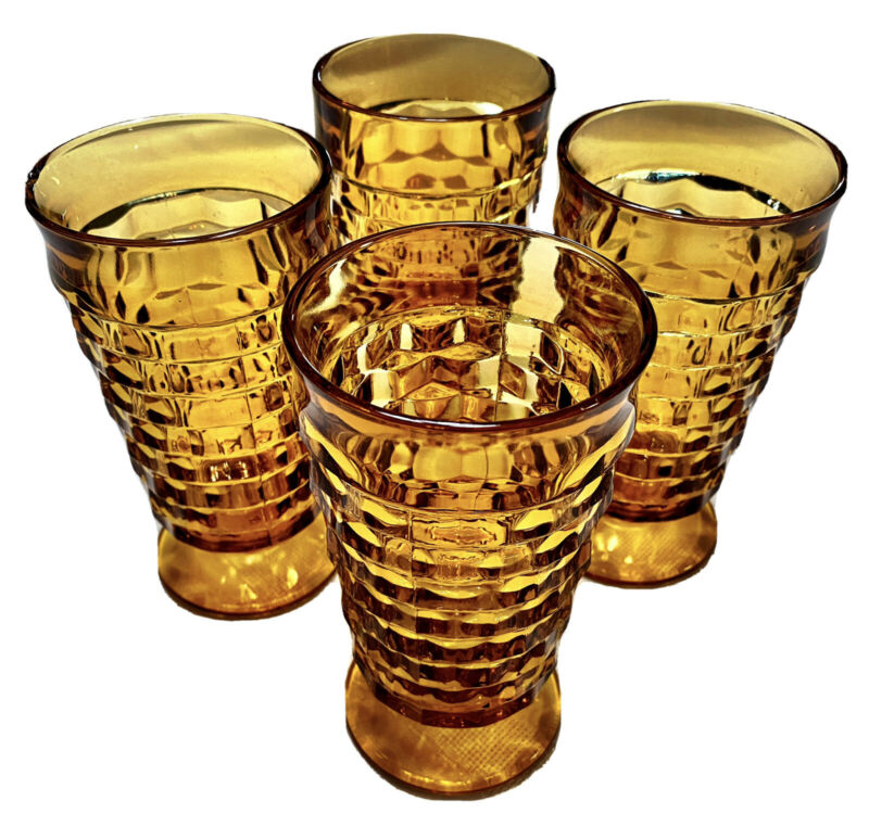4 Vintage Indiana Glass Amber Whitehall Cubist Footed Drinking Glasses