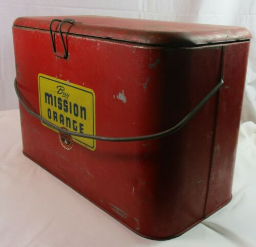 Rare Vintage Mission Orange of California Soda Metal Cooler | Hinge Lid + Handle