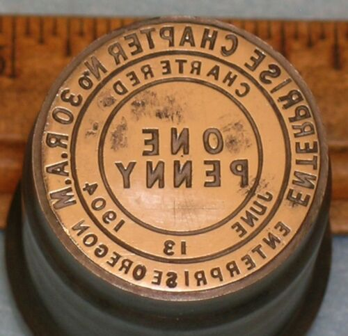 Antique ENTERPRISE OR Chapter No 30 RAM MASONIC PENNY Stamping Die * MC Lilley