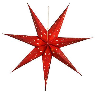 LED Weihnachtsstern rot 3D 70cm Ø mit Beleuchtung Adventsstern Papier beleuchtet ()