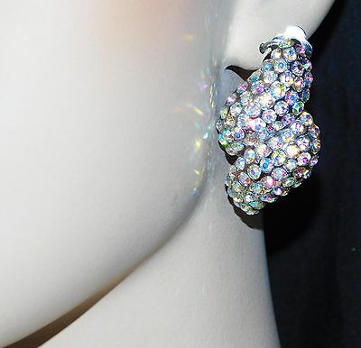 Iridescent Crystal - SILVER AB IRIDESCENT RHINESTONE CRYSTAL BRIDAL CLIP EARRINGS