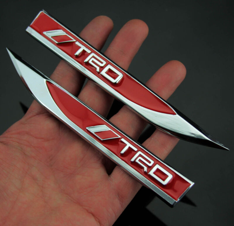 2pcs Auto Car Metal Knife Badge Emblem Decal Sticker For Red TRD Racing sports