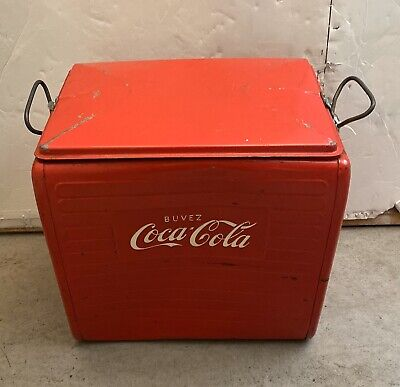 RARE Vintage Original Buvez Coca Cola Red Steel Cooler w/Tray FRENCH 1960s