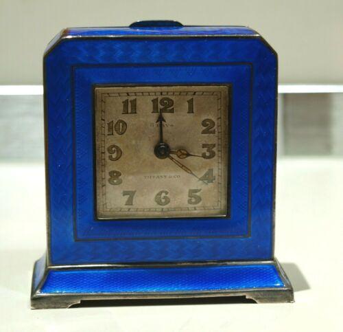 Antique Tiffany & Co Sterling Silver Blue Guilloche Enamel Travel Clock Art Deco