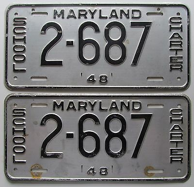 Maryland 1948 Charter School License Plate Pair Nice Quality   2 687