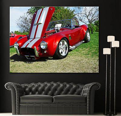 1960s Car Canvas Wall Art Prints Red Shelby AC Cobra Photo Print Home Cars Decor 1960s Home Decor
