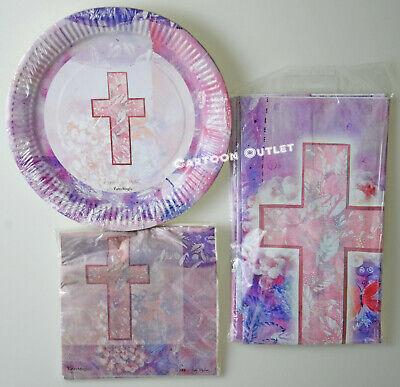 1ST COMMUNION BAPTISM CROSS TABLECOVER PLATES NAPKINS SET PARTY BAUTIZO COMUNION - First Communion Plates Napkins