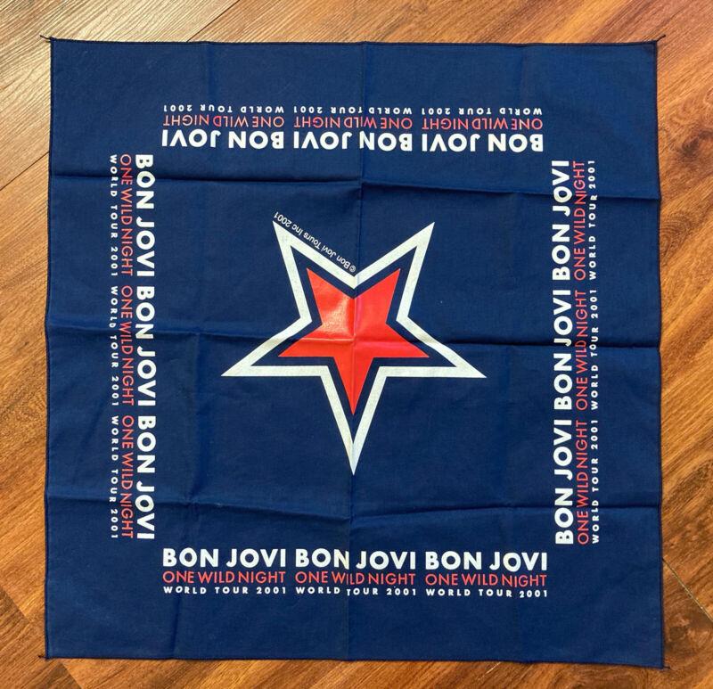Bon Jovi ONE WILD NIGHT World Tour 2001 Concert Scarf Bandana Navy Red Star