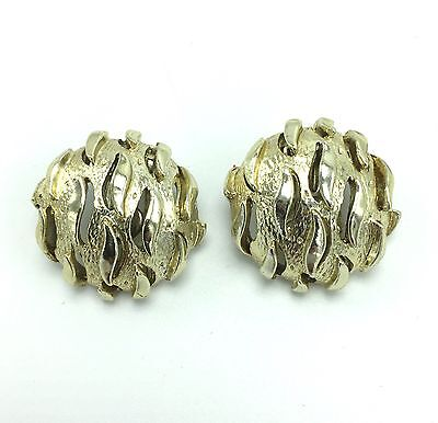 """Vintage CORO Signed Gold-Tone Metal 1"""" Clip-On Earrings"""