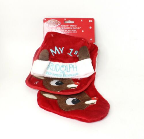 Rudolph The Red Nosed Reindeer Baby Set 1st Christmas Bib Hat Stocking 3 Piece