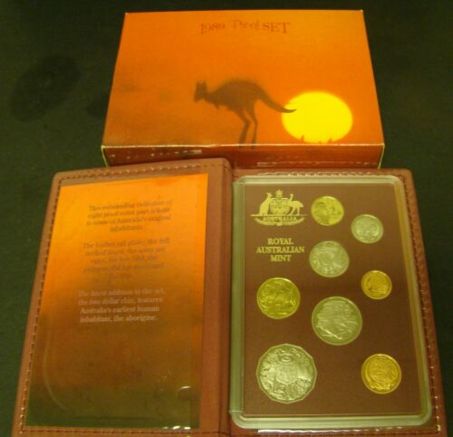 1989 AUSTRALIA PROOF SET  8 Coins Box & COA  Kangaroo  Aborigine