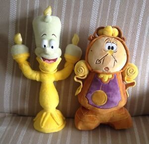 Disney Beauty & The Beast Lumiere and Cogsworth Plushes