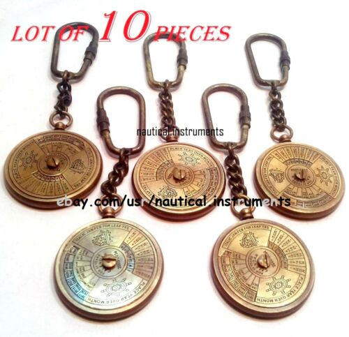 LOT OF 10 PCS VINTAGE STYLE BRASS CALENDAR KEY CHAIN CHRISTMAS GIFT