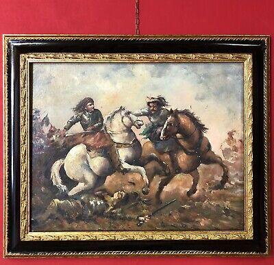 quadro dipinto a mano olio su in tela battaglia con cavalli cornice stile antico