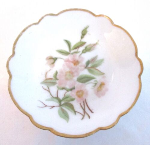 VINTAGE BUTTER PAT H & CO L PINK FLOWERS WITH GREEN LEAVES 1876-1889