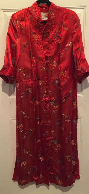 PEONY China LONG Kimono ROBE Red Satin Jacquard VINTAGE 80s Shanghai EXC Size 34