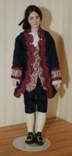 Colonial Young Man Doll, Porcelain-Dollhouse Miniature