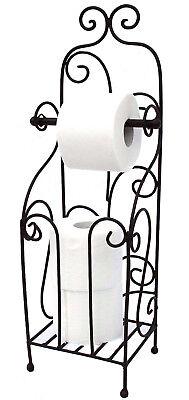 Freistehende Wc-rollenhalter (Toilettenpapierhalter Antik Schwarz Metall HX13608 WC Rollenhalter Freistehend)
