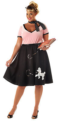 Grease 1950's Sweetheart Poodle Skirt Plus Size Adult Costume](Poodle Skirt Plus Size)