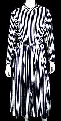 CASEY CASEY Blue & White Striped Cotton Elastic Waist Midi Shirt Dress L