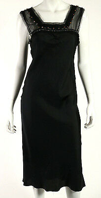 LANVIN Hiver 2009 NWT Black Silk Beaded Square Neck Cocktail Dress 40