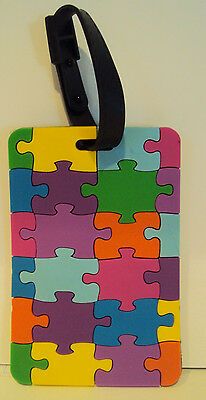 Travelon Brand Multi-Colored Puzzle Look Luggage ID Address