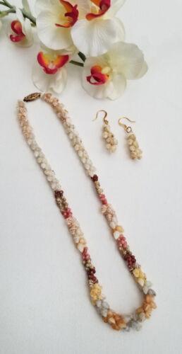 Hawaiian Niihau Shell Necklace Lei & Earrings Set - Kipona Style - Hawaii Estate
