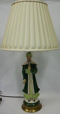 Vintage Asian Oriental Wise Man Figural Ceramic Table Lamp Metal Base