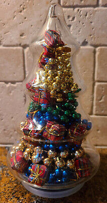 VINTAGE GLASS CHRISTMAS TREE APOTHECARY JAR FILLED WITH GLASS BEADS & ORNAMENTS