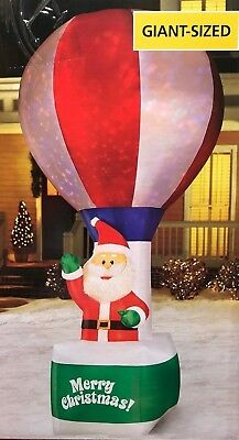 RARE NEW GIANT 12 FT TALL LED SANTA CLAUS IN HOT AIR BALLOON INFLATABLE BY GEMMY