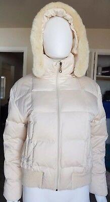 Larry Levine Womens Cream Down Winter Coat With Rex Rabbit Fur Trim Size M for sale  Twin Falls