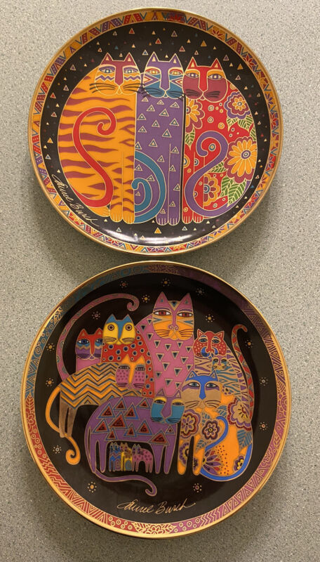 Set of 2 Laurel Burch Cat Plates: Fabulous & Fanciful Felines, Franklin Mint