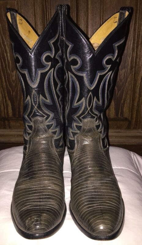 Mens, PANHANDLE, SLIM, Cowboy, Exotic, LIZARD, SKIN, LEATHER, Navy/Gray, Boots, Size, 10, D