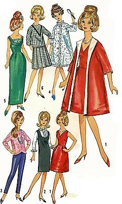 Vintage Doll Clothes PATTERN 5731 for 11.5 Barbie Tressy Annette Midge Mattel