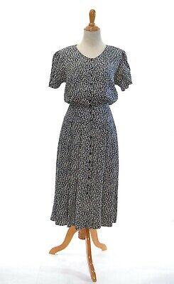 XS TRUE VINTAGE 1980s does 1940s dress petite midi black white costume modest 40](1940 Costume)