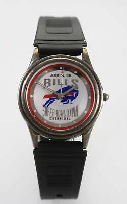 Fossil Watch Men NFL Bills Logo Super Bowl Limited Edition Black Rubber Quartz