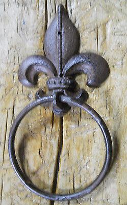 Fleur De Lis Door (Cast Iron Antique Style Rustic FLEUR DE LIS Door Knocker TOWEL RING Holder  )