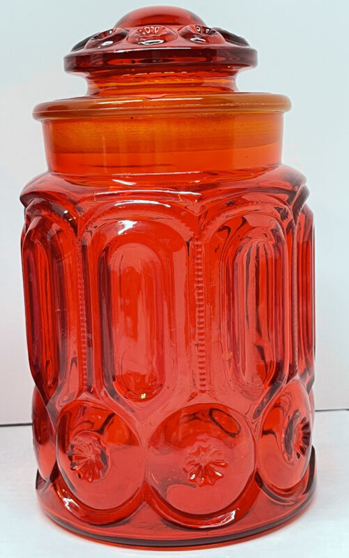 """LE Smith Red Glass Moon & Stars 9 1/2""""Canister Jar With Lid"""