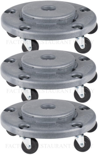 3 PACK Gray Plastic Trash Garbage Can Bin Mobile Dolly w/ 5 Casters Commercial