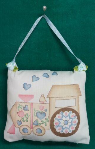 Handmade Fabric NURSERY DOOR KNOB HANGER Choo Choo Train w/Blue Ribbon Hanger