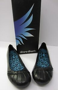 Angry-Angels-Beauty-Girls-Ladies-Black-Flat-Leather-School-College-Work-Shoes