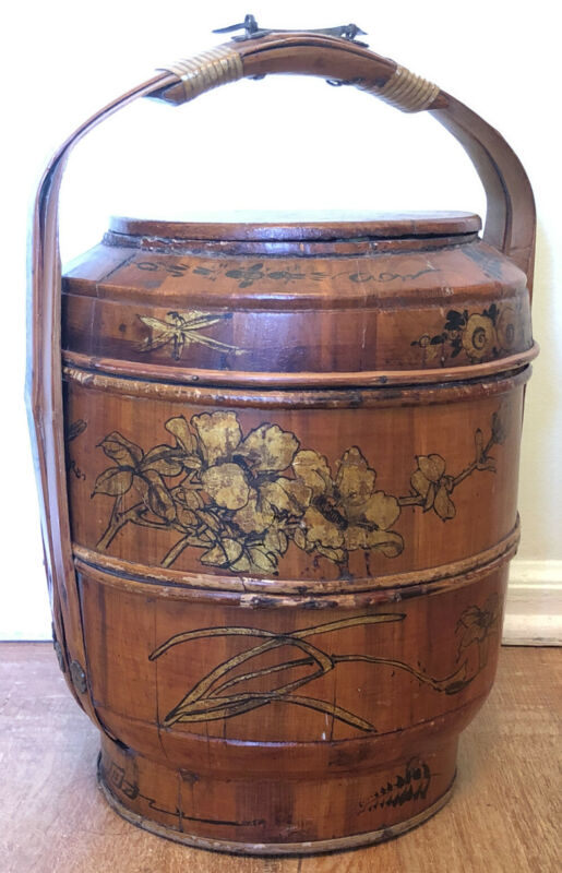 "Antique 17"" Tall Chinese Bamboo and Wood Wedding Basket with Chinese Lady Rare"